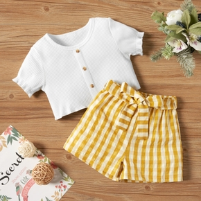 Baby / Toddler Casual Solid Top and Plaid Shorts Set