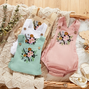 100% Cotton Floral Embroidery Solid Color Baby Romper