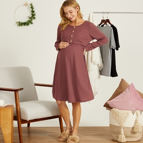 Maternity Round collar Plain Cameo brown Knee length Long-sleeve Nursing Dress