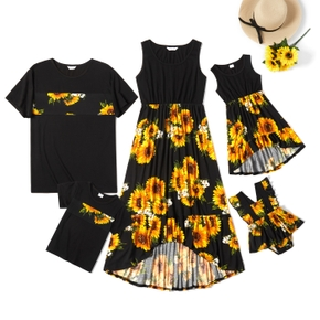 Sunflower Series Black Family Matching Sets(Tank Dresses for Mom and Girl - Short Sleeve T-shirts for Dad and Boy)