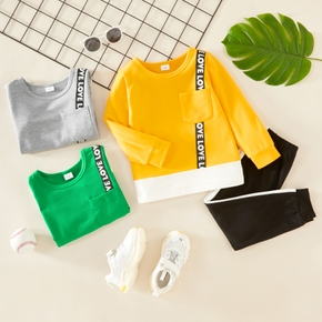2-piece Toddler Boy Letter Print Long-sleeve Top with Pocket and Stripe Pants Set