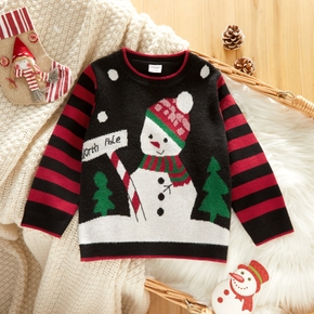 Toddler Girl Christmas Tree Snowman Embroidered Striped Sweater