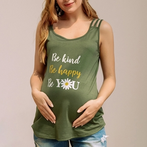 Maternity casual Daisies Letter Print Round collar Tank Tops