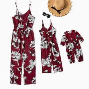 Floral Print Matching Red Sling Jumpsuits