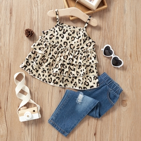 2-piece Baby/Toddler Girl Leopard Fashionable Sling Top with Jeans