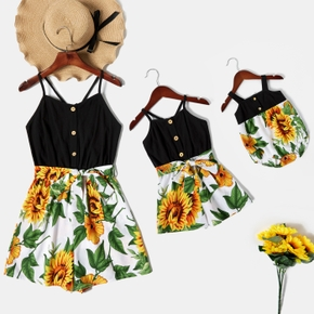 Sunflower Pattern Matching Stitching Sling Shorts Rompers