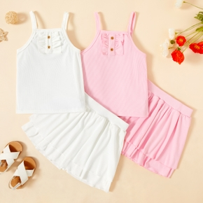 2-piece Toddler Girl Casual Pink Camisole and Skirt Set