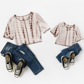 Tie dye Print Cotton Short Sleeve Crop Tops for Mom and Me