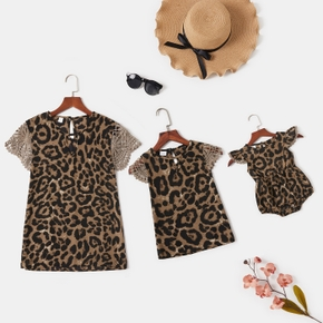 Leopard Print Lace Sleeve Short Sleeve T-shirts for Mommy and Me