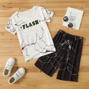 Stylish Kid Boy 2-piece Short-sleeve Letter Lightning Print Pants Suits