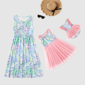 Mommy and Me Floral Print Stitching Mesh Tank Dresses