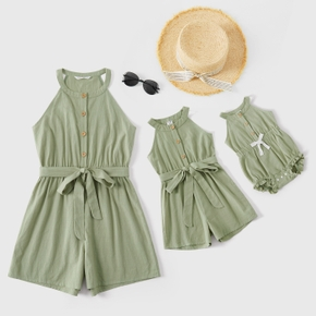 Solid Sleeveless Matching Shorts Rompers