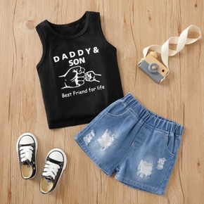 2-piece Toddler Boy Trendy Letter Print Tank and Denim Shorts Set