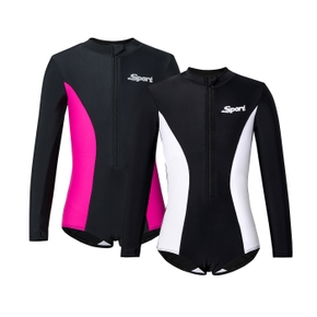 Long-sleeve Color Contrast One-piece Athletic Swimsuit for Kids
