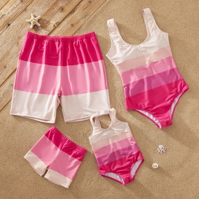 Family Look Color Block One-piece Matching Swimsuits