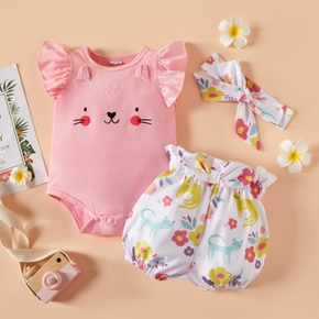3pcs Baby Girl Flutter-sleeve Cat Floral Print Baby's Sets