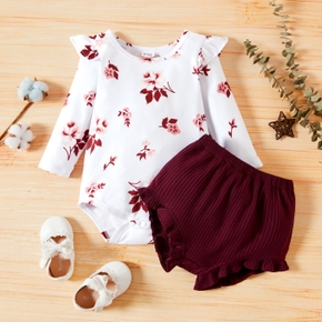 2-piece Baby Girl Floral Print Ruffled Long-sleeve Bodysuit Romper and Elasticized Solid Shorts Set
