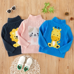 Toddler Girl/Boy Animal Embroidery Turtleneck Cable Knit Sweater