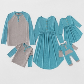 Mosaic Family Matching Casual Autumn Sets(Long Sleeve Dresses - Rompers -Tee)