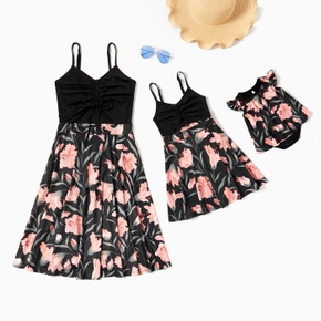 Black Splice Floral Print Sling Dresses for Mommy and Me