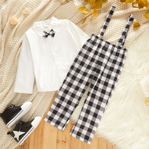 2-piece Toddler Boy 100% Cotton White Shirt with Bow tie and Plaid Overalls Set