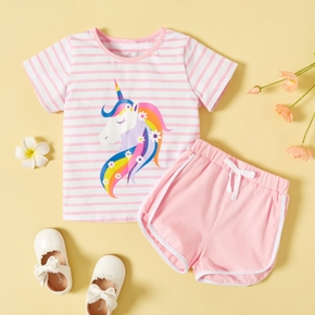2-piece Toddler Girl Striped Unicorn Top and Casual Shorts Set