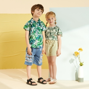 Toddler Boy Tropical Plant Print Holiday Shirt