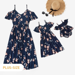 Navy Blue Floral Print Sling Dress for Mommy and Me