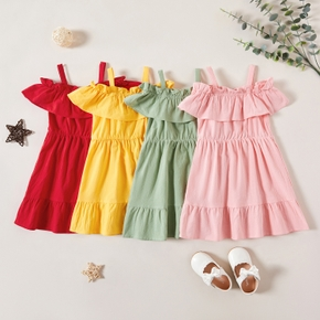 Toddler Girl 100% Cotton Multi-color Ruffle Flounce Dress