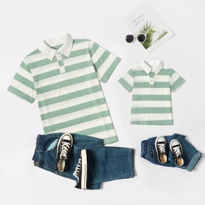 100%Cotton Stripe Print Short Sleeve Shirts with Collar for Dad and Me