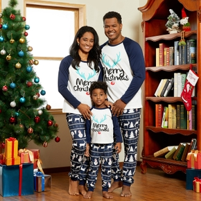Christmas Antler Letter Top and Snowman Reindeer Print Pants Family Matching Pajamas Sets (Flame Resistant)