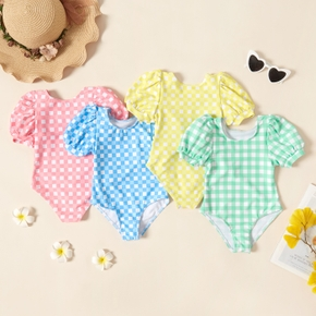 Toddler Girl Plaid Puff-sleeve Multi-color Swimsuit