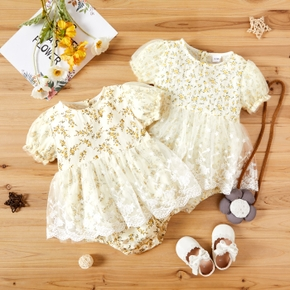 100% Cotton Floral Print Sisters Matching Romper Dresses
