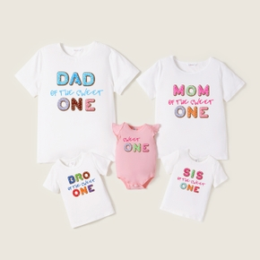 Mosaic 'Sweet One' Print Cotton Family Matching Tees and Bodysuit