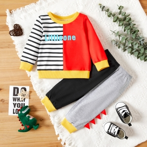 2-piece Baby Boy Letter Print Striped Colorblock Long-sleeve Top and Dinosaur Spikes Elasticized Pants Set