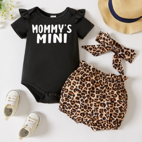 3-piece Baby Girl Letter Print Romper, Leopard Print Shorts and Headband Set