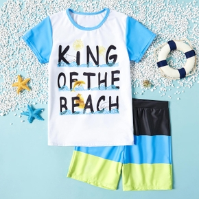 Trendy Kid Boy Letter Dolphin Animal Print 2-piece Swimsuits