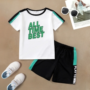Letter Print Top and Shorts Athleisure Set for Kids