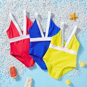 Toddler Girl Tank Solid Multicolor Swimsuit
