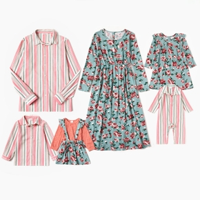 Mosaic Family Matching Spring Cotton Sets(Floral Dresses - Stripe Button Front Shirts - Rompers)