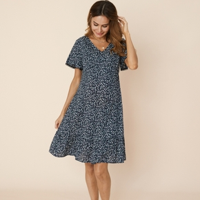 Nursing casual Floral Print V-neck Tunic Short-sleeve Nursing Dress