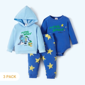 Smurfs 3-pack Baby Boy  Abracada Smurf Cotton Hoodie and Romper and Stars Pants Set
