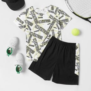 Number Print Tee and Shorts Athleisure Set for Toddlers/Kids
