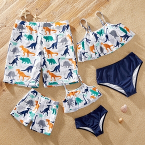Dinosaur Animal Print Family Matching Swimsuits(2-piece Sling Swimsuits for Mom and Girl ; Swim Trunks for Dad and Boy)