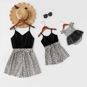 Black Splice Leopard Print Sling Rompers for Mommy and Me