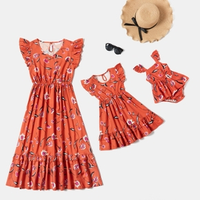 Floral Print Ruffle Sleeve Matching Orange Midi Dresses for Mommy and Me