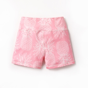 Pineapple Print Pink Athleisure Shorts for Toddlers / Kids