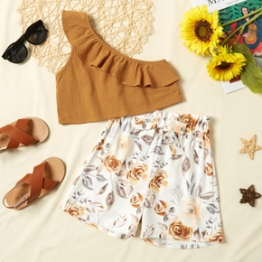 Trendy Kid Girl Flounced One Shoulder Top Floral Shorts Casual Set