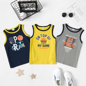 Basketball Letter Print Tank for Toddlers/Kids