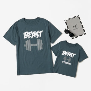 Beast Letter Print Dark Blue T-shirts for Dad and Me